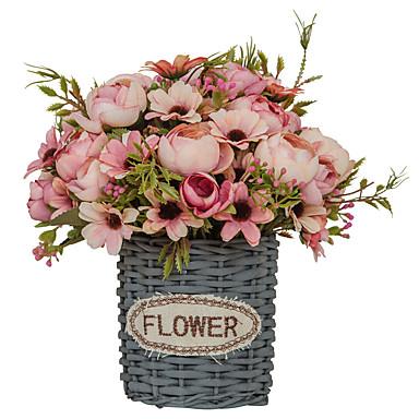 زهور اصطناعية 1 فرع فردي أسلوب بسيط الحديث النباتات العصارية أزهار الطاولة