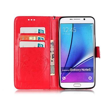 Недорогие Чехлы и кейсы для Galaxy Note 4-Кейс для Назначение SSamsung Galaxy Note 9 / Note 8 / Note 5 Кошелек / Бумажник для карт / со стендом Чехол Бабочка Твердый Кожа PU