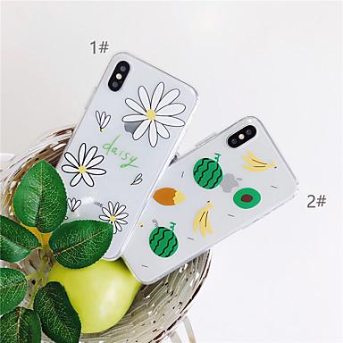 Недорогие Кейсы для iPhone-Кейс для Назначение Apple iPhone XS / iPhone XR / iPhone XS Max Прозрачный / С узором Кейс на заднюю панель Продукты питания / Цветы Мягкий ТПУ