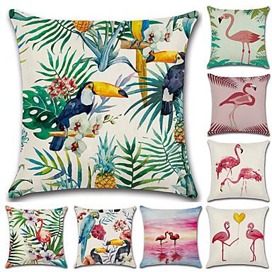 1 kom Pamuk / Posteljina Navlaka za jastuk, Flamingo 3D ispis Ležerne prilike Moda Baci jastuk