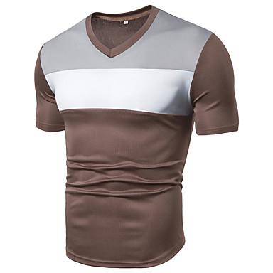 رخيصةأون قمصان رجالي-رجالي الرياضة أساسي بقع مقاس أوروبي / أمريكي تيشرت, لون سادة / ألوان متناوبة V رقبة / كم قصير