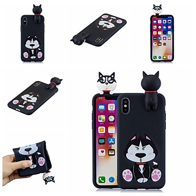 voordelige iPhone-hoesjes-hoesje Voor Apple iPhone XS / iPhone XR / iPhone XS Max Patroon Achterkant Hond / Cartoon Zacht TPU