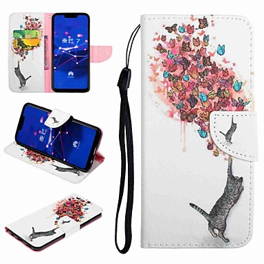 voordelige Huawei Y-serie hoesjes / covers-hoesje Voor Huawei Honor 9 / Honor 8 / Huawei Honor 7 Kaarthouder / met standaard / Flip Volledig hoesje Kat / Vlinder Hard PU-nahka