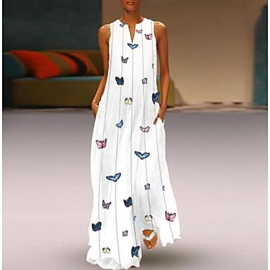 povoljno Maxi haljine-Žene 2020 Maxi Bijela Blushing Pink Haljina Ležerne prilike Ljeto Izlasci Shift Životinja V izrez Print S M Širok kroj