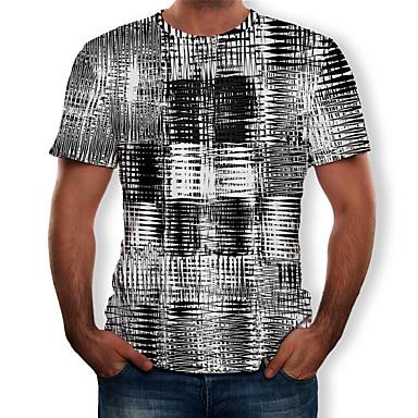 Hombre Estampado Camiseta, Escote Redondo Gráfico Blanco