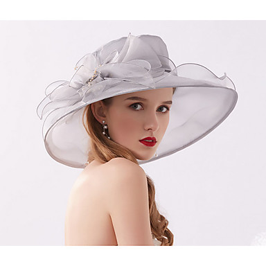 cheap Party Headpieces-Tulle / Organza Fascinators / Hats / Bonnet with Crystal / Feather / Bowknot 1 Wedding / Daily Wear Headpiece