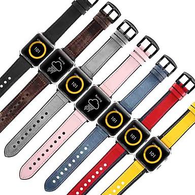 Недорогие Ремешки для Apple Watch-Ремешок для часов для Apple Watch Series 4/3/2/1 Apple Спортивный ремешок силиконовый / Натуральная кожа Повязка на запястье