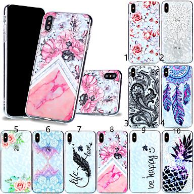 voordelige iPhone 7 hoesjes-hoesje Voor Apple iPhone XS / iPhone XR / iPhone XS Max Patroon Achterkant Veren / Bloem Zacht TPU
