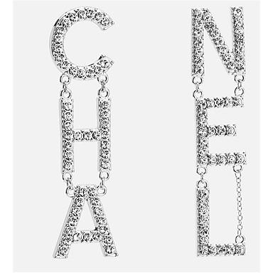 levne Náušnice-Dámské Stříbrná Zlatá Visací náušnice Alphabet Shape Písmeno Evropský Elegantní počáteční šperky Pozlacené Umělé diamanty Náušnice Šperky Zlatá / Stříbrná Pro Denní 1 Pair