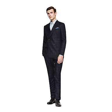 cheap Tuxedos & Suits-Custom Suits Dark Grey Checkered Standard Fit Wool Suit - Peak Double Breasted Six-buttons