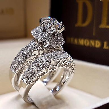 povoljno Prstenje-Žene Zaručnički prsten Kubični Zirconia 1pc Obala Pozlaćeni Legura Šest držaka Luksuz Vjenčanje Angažman Jewelry Pasijans