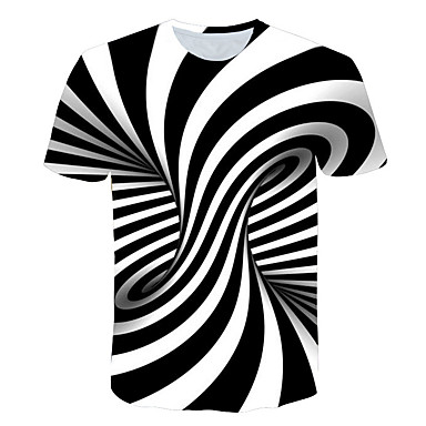Heren Print T-shirt Gestreept / 3D Ronde hals Oranje / Korte mouw