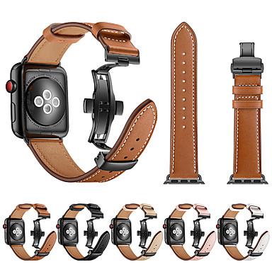 Недорогие Ремешки для Apple Watch-Группа SmartWatch для Apple Watch серии 4/3/2/1 кожа бабочка пряжка ремешок iwatch ремешок