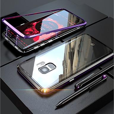 رخيصةأون حافظات / جرابات هواتف جالكسي S-غطاء من أجل Samsung Galaxy S9 / S9 Plus / S8 Plus شفاف / مغناطيس غطاء كامل للجسم لون سادة قاسي زجاج مقوى