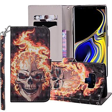 Недорогие Чехлы и кейсы для Galaxy Note-Кейс для Назначение SSamsung Galaxy Note 9 Кошелек / Бумажник для карт / со стендом Чехол Черепа Твердый Кожа PU