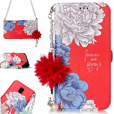 رخيصةأون حافظات / جرابات هواتف جالكسي J-غطاء من أجل Samsung Galaxy J7 (2017) / J5 (2017) / J3 (2017) محفظة / حامل البطاقات / مع حامل غطاء كامل للجسم زهور قاسي جلد PU / TPU