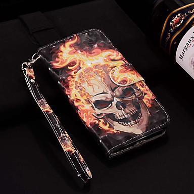 Недорогие Кейсы для iPhone 6-чехол для яблока iphone xr / iphone xs max выкройка / флип / с подставкой чехлы для всего тела лазерный 3d пламя череп жесткий пу кожа для iphone 6/6 plus / 6s / 6s plus / 7/7 plus / 8/8 plus / xs / x