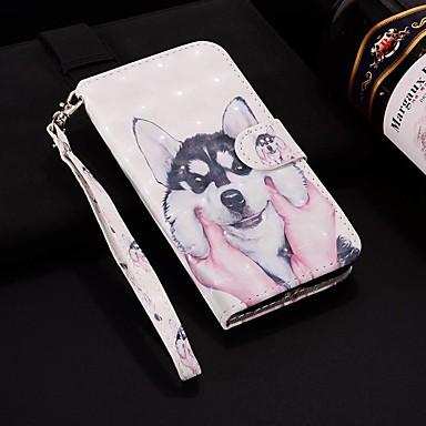 voordelige Galaxy A-serie hoesjes / covers-hoesje Voor Samsung Galaxy A6 (2018) / A6+ (2018) / Galaxy A7(2018) Portemonnee / Kaarthouder / met standaard Volledig hoesje Hond Hard PU-nahka