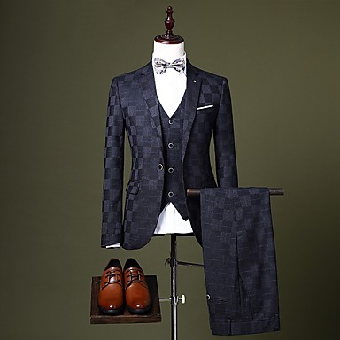 cheap Tuxedos & Suits-Burgundy / Black / Royal Blue Checkered Tailored Fit Polyester Suit - Notch Single Breasted One-button