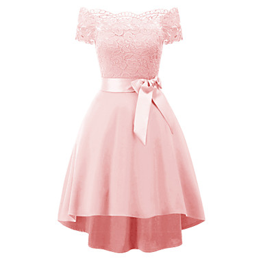 cheap Prom Dresses-Women's A Line Dress - Short Sleeve Solid Colored Lace Off Shoulder Elegant Sophisticated Slim Wine White Black Purple Blushing Pink Green Navy Blue Gray S M L XL XXL