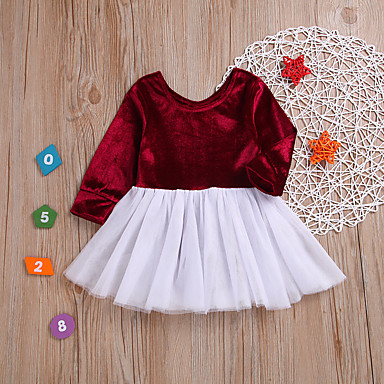 رخيصةأون ملابس الرضع-فستان كم طويل بقع لون سادة أساسي للفتيات طفل / طفل صغير