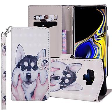 Недорогие Чехлы и кейсы для Galaxy Note-Кейс для Назначение SSamsung Galaxy Note 9 Кошелек / Бумажник для карт / со стендом Чехол С собакой Твердый Кожа PU