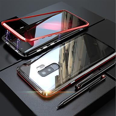 رخيصةأون حافظات / جرابات هواتف جالكسي S-غطاء من أجل Samsung Galaxy S9 / S9 Plus / S8 Plus مغناطيس غطاء كامل للجسم لون سادة قاسي زجاج مقوى