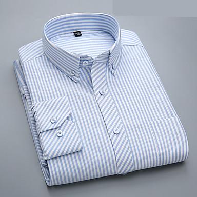 رخيصةأون قمصان رجالي-رجالي الأعمال التجارية / أساسي كشكش قطن قميص, مخطط ياقة مع زر سفلي نحيل