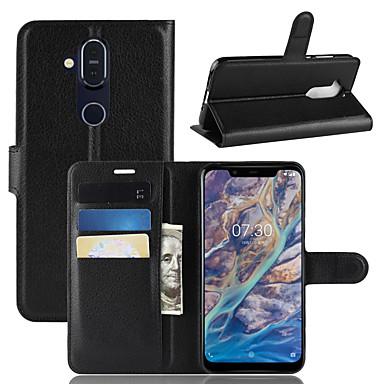 Недорогие Чехлы и кейсы для Nokia-Кейс для Назначение Nokia Nokia 9 PureView / Nokia 7 / Nokia 7 Plus Кошелек / Бумажник для карт / Флип Чехол Однотонный Твердый Кожа PU