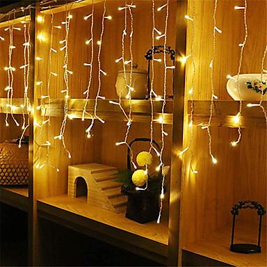 abordables LED e Iluminación-4 m * 0,6 m Sets de Luces / Cuerdas de Luces 96 LED 1pc Blanco Cálido / Blanco / Azul Impermeable / Fiesta / Decorativa 220-240 V / 110-120 V
