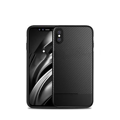 Недорогие Кейсы для iPhone 6 Plus-Кейс для Назначение Apple iPhone XS / iPhone X / iPhone 8 Pluss Защита от удара Кейс на заднюю панель Однотонный Мягкий Углеродное волокно
