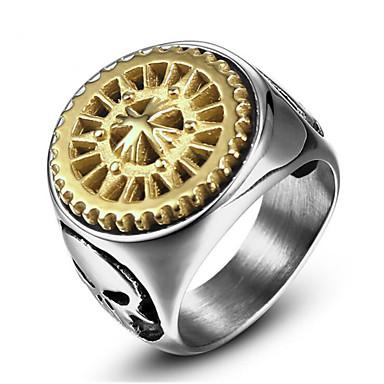 رخيصةأون خواتم-رجالي خاتم 1PC ذهبي ذهبي-أسود الصلب التيتانيوم Geometric Shape أنيق هدية مناسب للبس اليومي مجوهرات كلاسيكي إيمان كوول