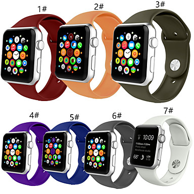 Недорогие Аксессуары для смарт-часов-SmartWatch для Apple Watch серии 4/3/2/1 Apple Sport Band мягкий силиконовый ремешок на запястье