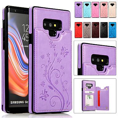 Недорогие Чехлы и кейсы для Galaxy Note-Кейс для Назначение SSamsung Galaxy Note 9 / Note 8 Бумажник для карт / со стендом / Рельефный Чехол Однотонный Мягкий Кожа PU
