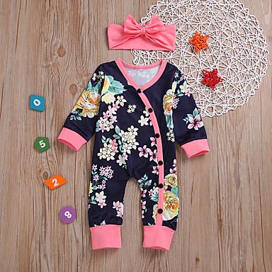 voordelige Babyrompers-Baby Meisjes Standaard Print Print Lange mouw Katoen Eendelig Marine Blauw / Peuter