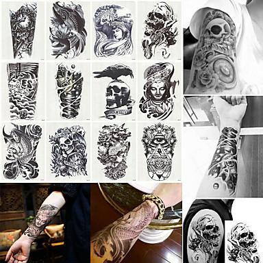 billige Midlertidige tatoveringer-12 pcs Midlertidige Tatoveringer Vandafvisende / Ergonomisk Design / Bedste kvalitet brachium / Bryst / tilbage Tatoveringsklistermærker