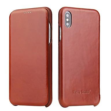 Недорогие Кейсы для iPhone 6 Plus-Кейс для Назначение Apple iPhone XS / iPhone XR / iPhone XS Max Защита от удара Чехол Однотонный Твердый Кожа PU