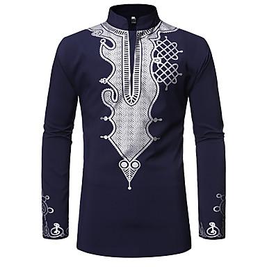 رخيصةأون قمصان رجالي-رجالي طباعة مقاس أوروبي / أمريكي - قطن قميص, ترايبال رقبة دائرية