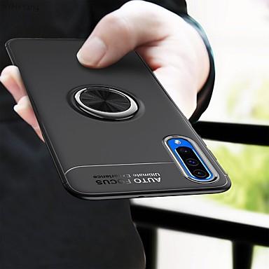 رخيصةأون حافظات / جرابات هواتف جالكسي A-غطاء من أجل Samsung Galaxy A6 (2018) / A6+ (2018) / Galaxy A7(2018) ضد الصدمات / حامل الخاتم / نحيف جداً غطاء خلفي لون سادة ناعم TPU / معدن