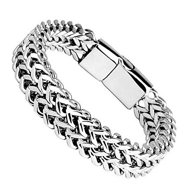 cheap Bracelets-Men's Bracelet Thick Chain XOXO Trendy Titanium Steel Bracelet Jewelry Silver For Daily