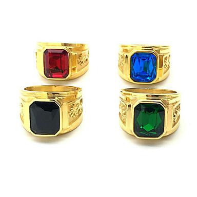 رخيصةأون خواتم-رجالي خاتم 1PC أخضر أزرق بورجوندي الفولاذ المقاوم للصدأ مطلية بالذهب عتيق زفاف مناسب للبس اليومي مجوهرات تنين