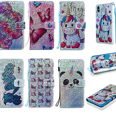 voordelige Galaxy S-serie hoesjes / covers-case voor samsung galaxy galaxy s10 / galaxy s10 plus glitter shine / portemonnee full body cases cartoon / glitter shine zachte tpu voor galaxy s10 / galaxy s10 plus / galaxy s10 e