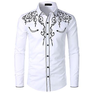 رخيصةأون قمصان رجالي-رجالي ريفي / التقليدية / الكلاسيكية مطرز مقاس أوروبي / أمريكي - قطن قميص, ألوان متناوبة / الرسم ياقة كلاسيكية