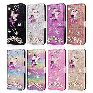 voordelige iPhone X hoesjes-hoesje voor apple iphone xr / iphone xs max flip / met standaard / strass full body cases glitter shine / hart hard pu leer voor iphone 5c / se / 5s / iphone 6s / 6s plus / 7/7 plus / x / xs / 8 / 8