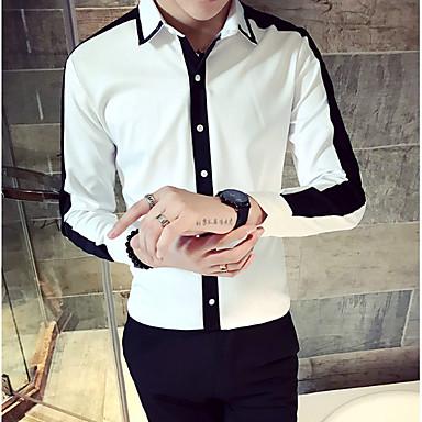 رخيصةأون قمصان رجالي-رجالي قميص, لون سادة / ألوان متناوبة ياقة مع زر سفلي نحيل