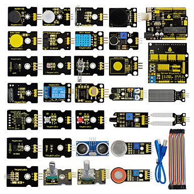 olcso KIT-érzékelő indító készlet az arduino oktatási projekthez uno + pajzs v5 + érzékelőkkel + dupont kábel + pdf