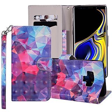 Недорогие Чехлы и кейсы для Galaxy Note-Кейс для Назначение SSamsung Galaxy Note 9 Кошелек / Бумажник для карт / со стендом Чехол Геометрический рисунок / Градиент цвета Твердый Кожа PU