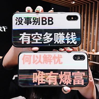 voordelige iPhone-hoesjes-hoesje Voor Apple iPhone X / iPhone 6 Spiegel Achterkant Woord / tekst Hard Gehard glas voor iPhone X / iPhone 8 Plus / iPhone 8