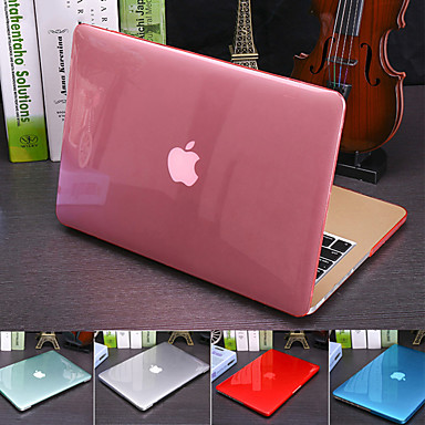 cheap Mac Cases & Mac Bags & Mac Sleeves-Solid Colored Crystal Translucent Cover For MacBook Pro Air Retina 11/12/13/15 Inch (A1278-A1989) Plastic Hard Case