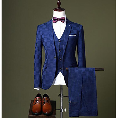 저렴한 남자 겉옷-블랙 / 버간디 / 네이비 블루 체크 무늬 맞춤 핏 폴리에스테르 소송 - 노치 싱글 브레스트 한 버튼 / 정장